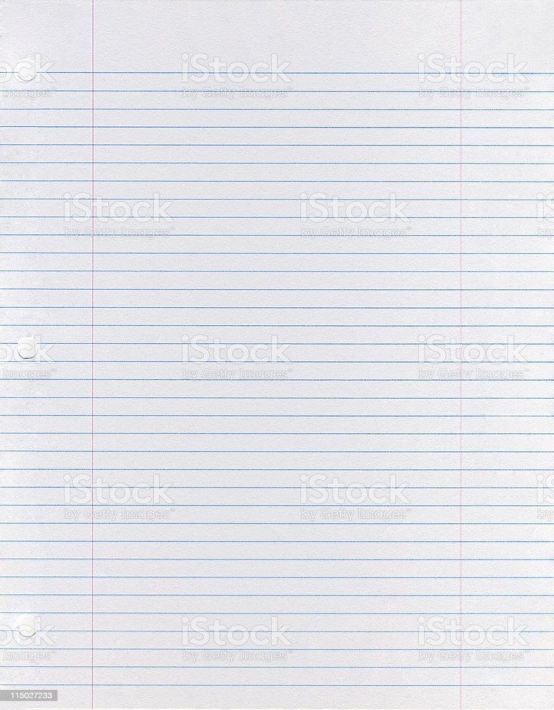 Sheet of looseleaf paper stock photo