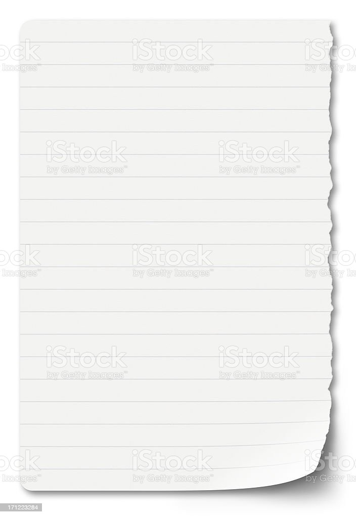 sheet of notebook paper on a white background stock photo