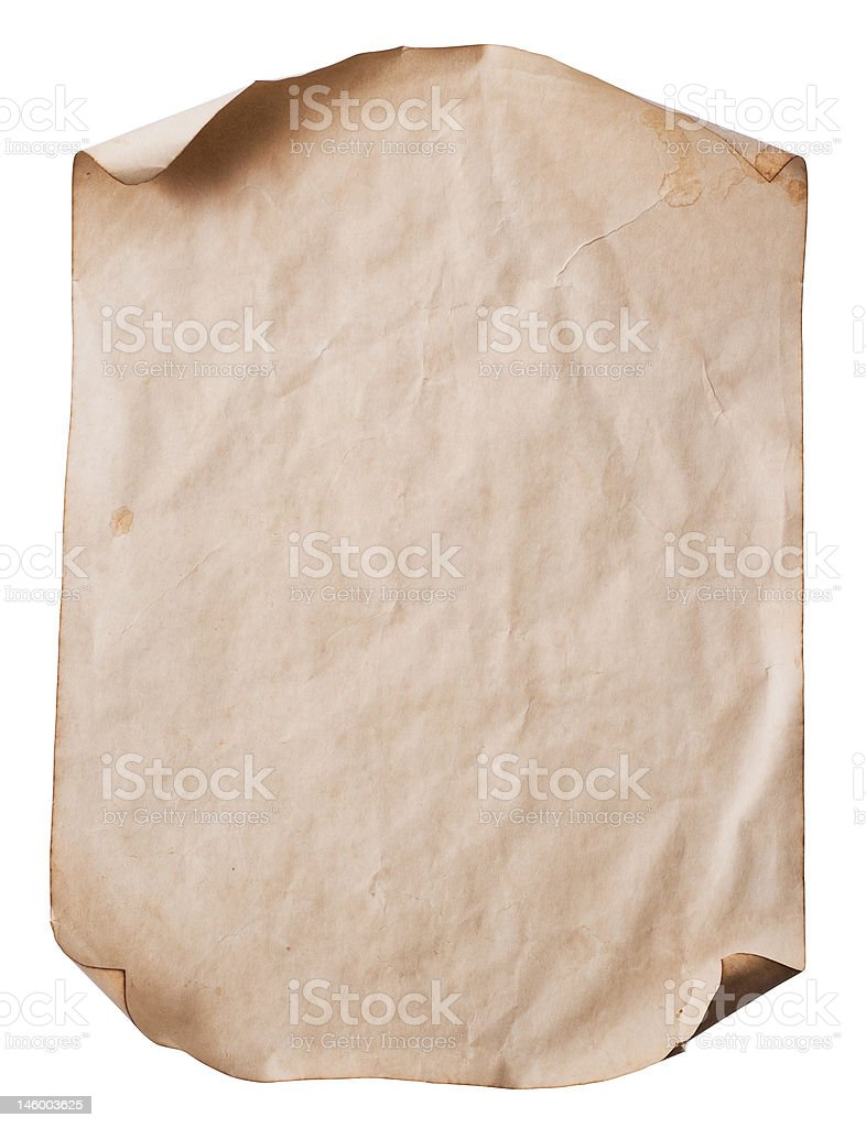 sheet of old paper stock photo