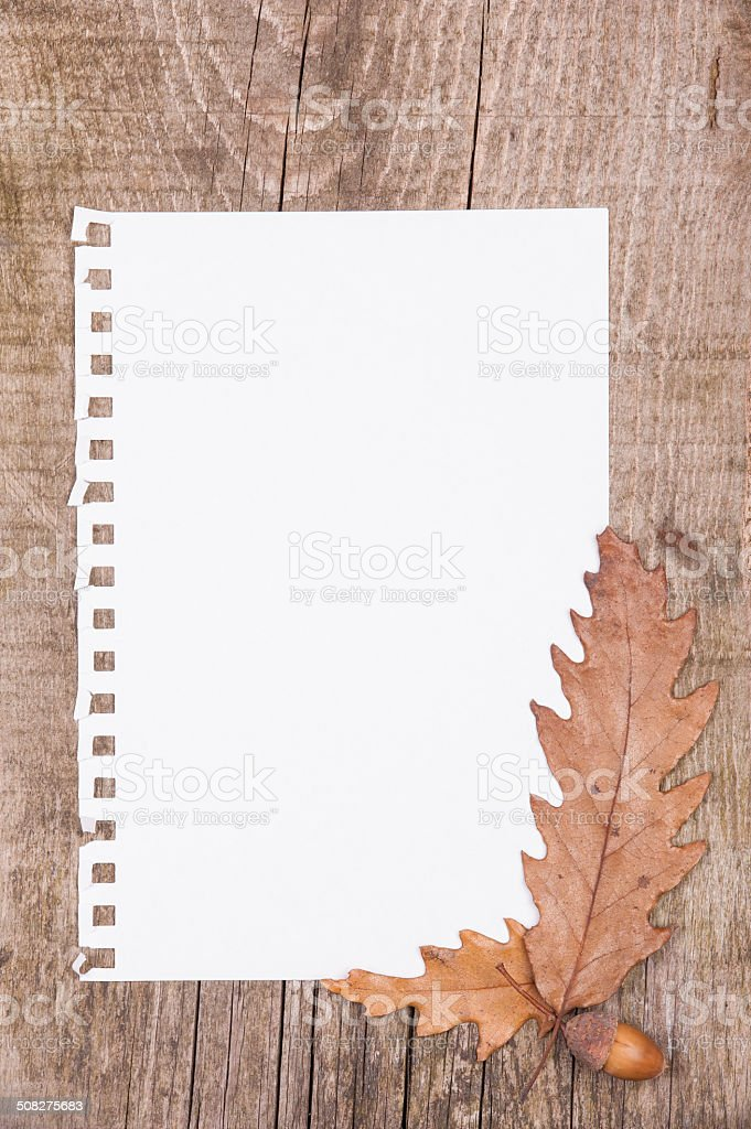 Sheet of paper and autumn leaves on wooden background stock photo