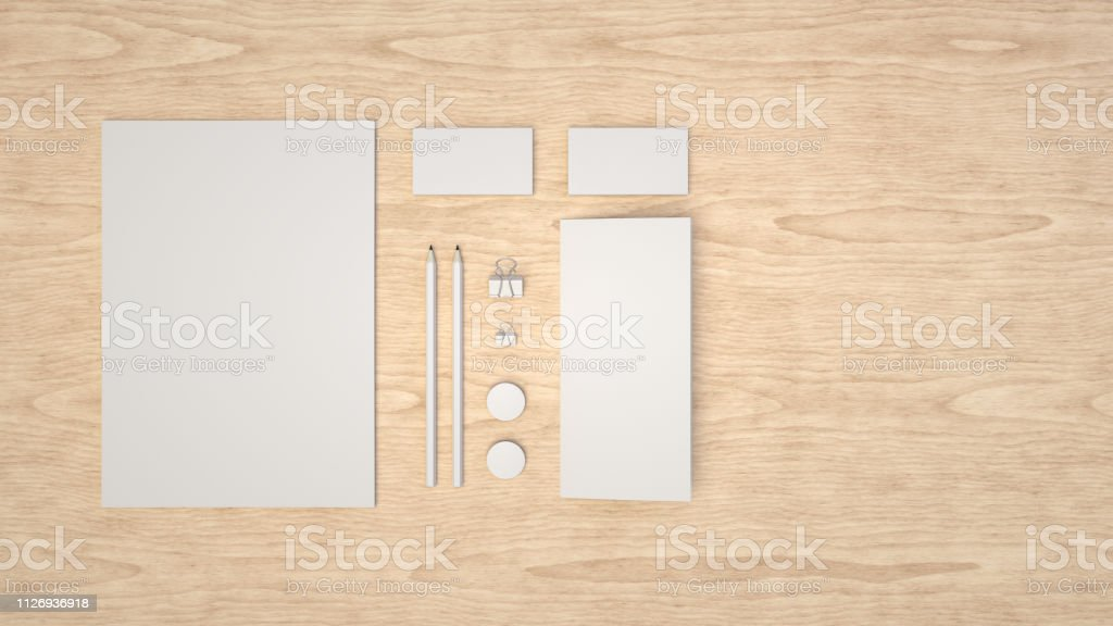 Blatt Papier Visitenkarten Bindemittelclips Abzeichen Und