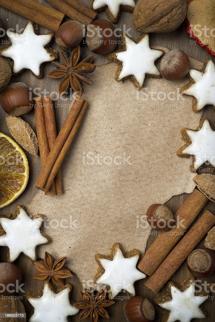 sheet of paper for recipe, Christmas cookies and spices royalty-free stock photo