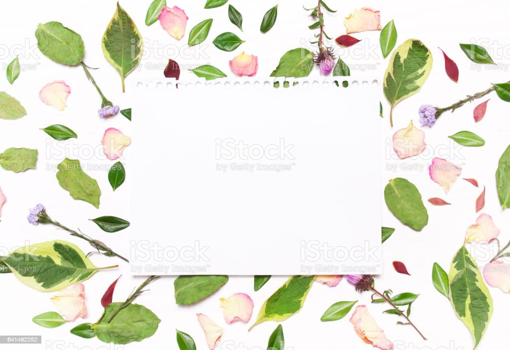 sheet of paper for text in a frame of flowers stock photo
