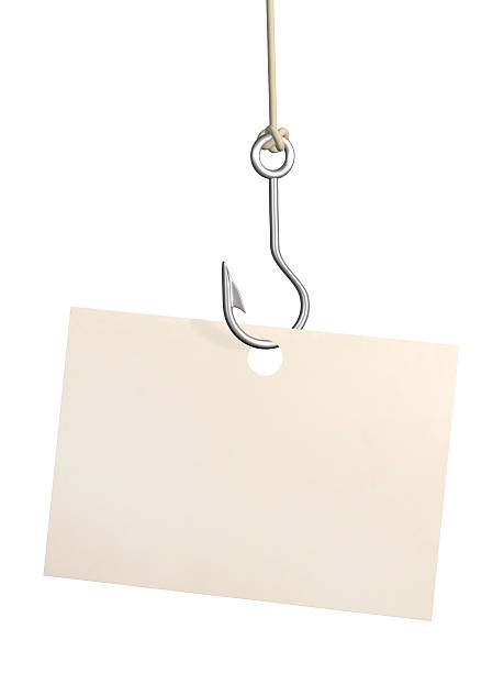 Sheet of paper on fishing hook  fishing hook stock pictures, royalty-free photos & images