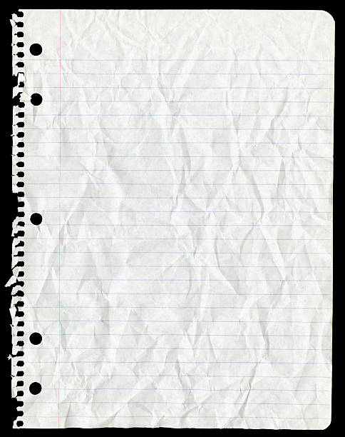 Sheet of Paper Torn From Spiral Notebook and Crumpled stock photo