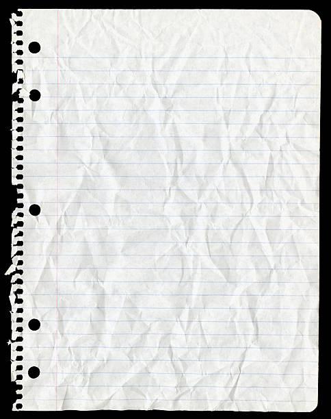Blatt Papier Zerrissen von Spiralblock und Faltig – Foto