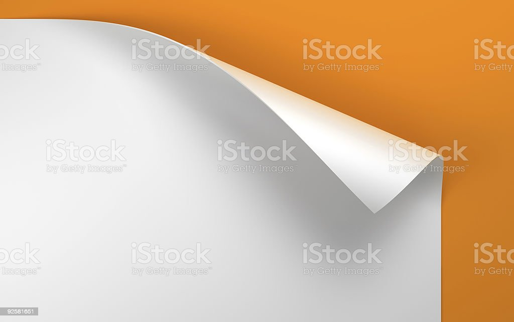 Sheet of paper with the curled corner royalty-free stock photo