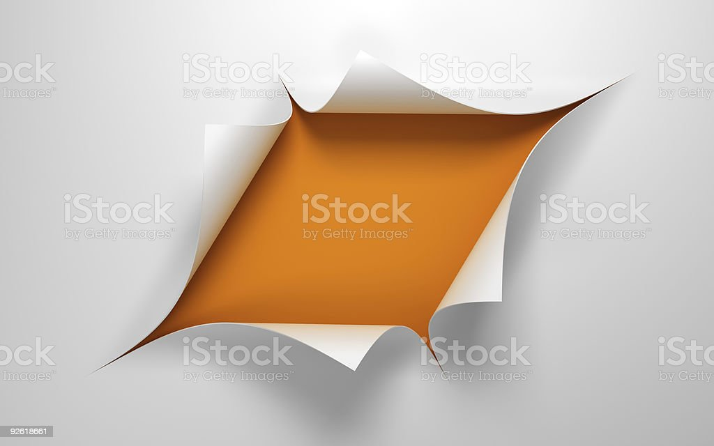 Sheet of paper with the hole royalty-free stock photo