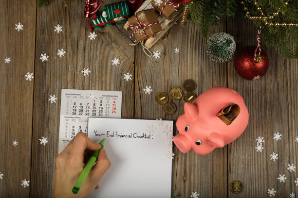 Sheet of paper - Year-End Financial Checklist stock photo
