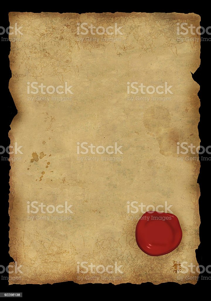 Sheet of parchment with a sealing wax seal royalty-free stock photo