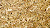 Sheet of plywood with fragments of compressed sawdust. Texture of yellow pressed wood shavings