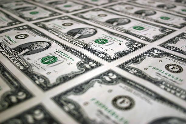 Sheet of Two Dollar Bills 3 stock photo