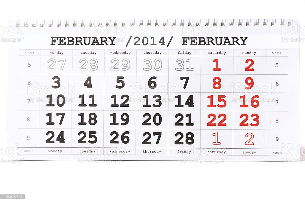 Sheet of wall calendar with red mark on 14 February stock photo