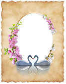 istock Sheet old paper with  floral decoration and swans 502116647