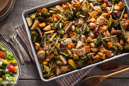 Chicken Sheet Pan Dinner with Broccoli, Red Potatoes, Green Beans, Sweet Potatoes, Rainbow Carrots, Onion and Thyme.