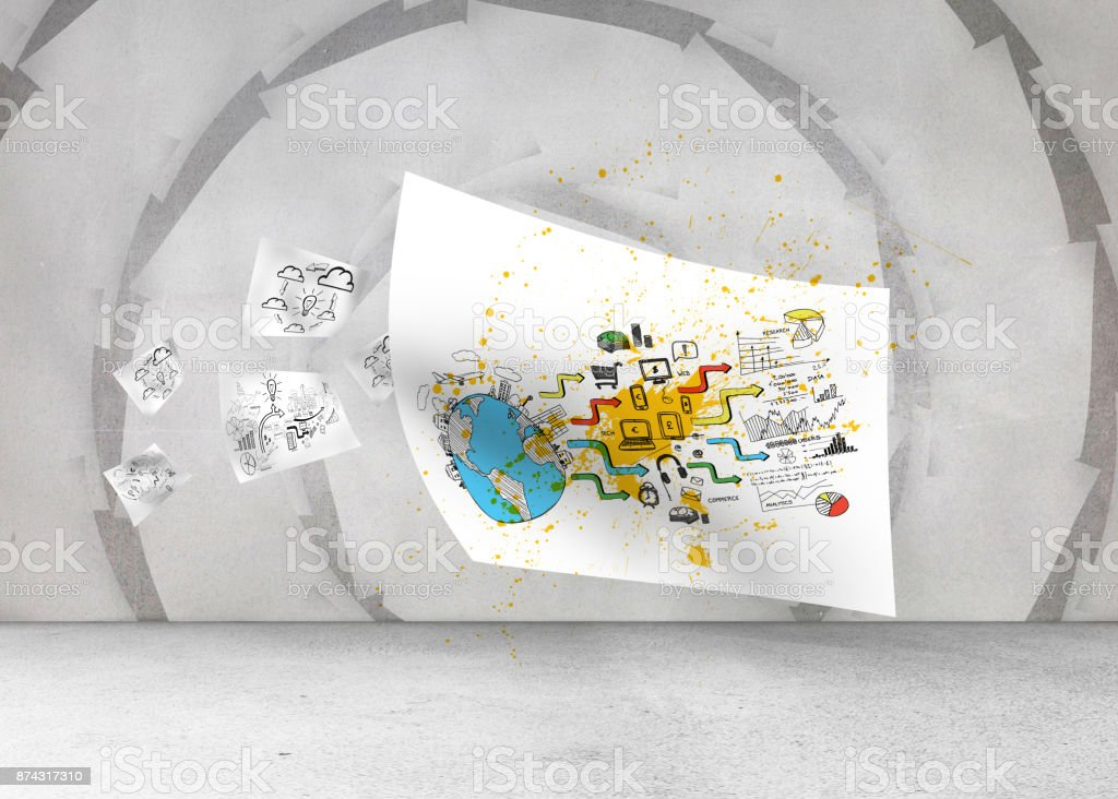 Sheet with graphic over spiral background stock photo