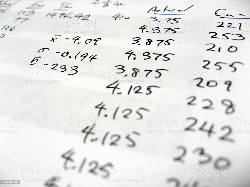 Sheet with statistical numbers close up stock photo