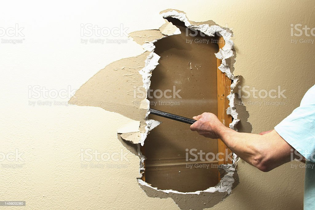 Sheetrock removal royalty-free stock photo