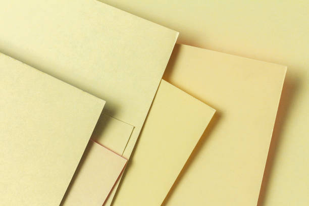 Sheets of cardboard for applications from the back side. Geometric lines stock photo