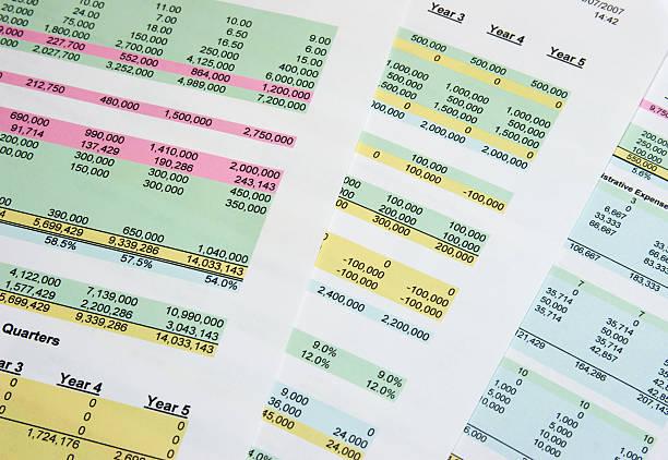 business finanzen dokument - tabellenkalkulation stock-fotos und bilder