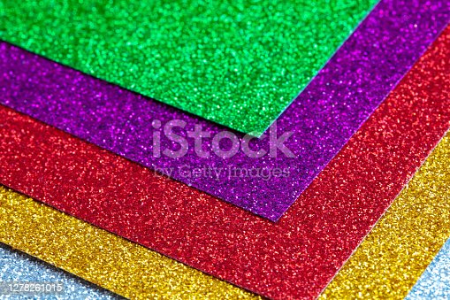 sheets of glitter colorful paper