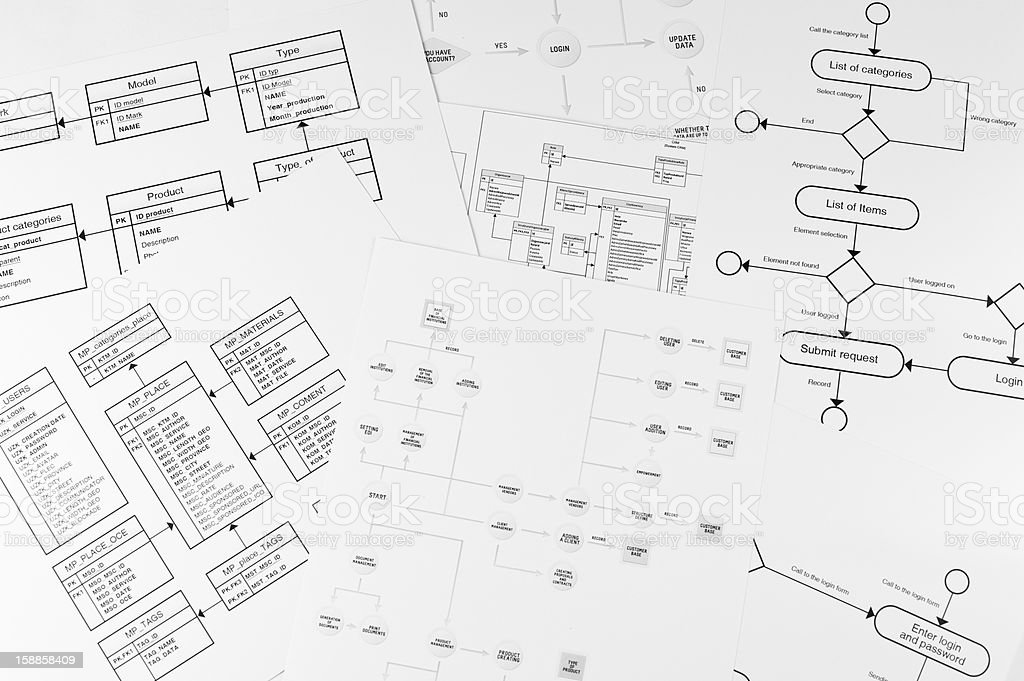 Sheets of paper with different styles of logical graphs stock photo