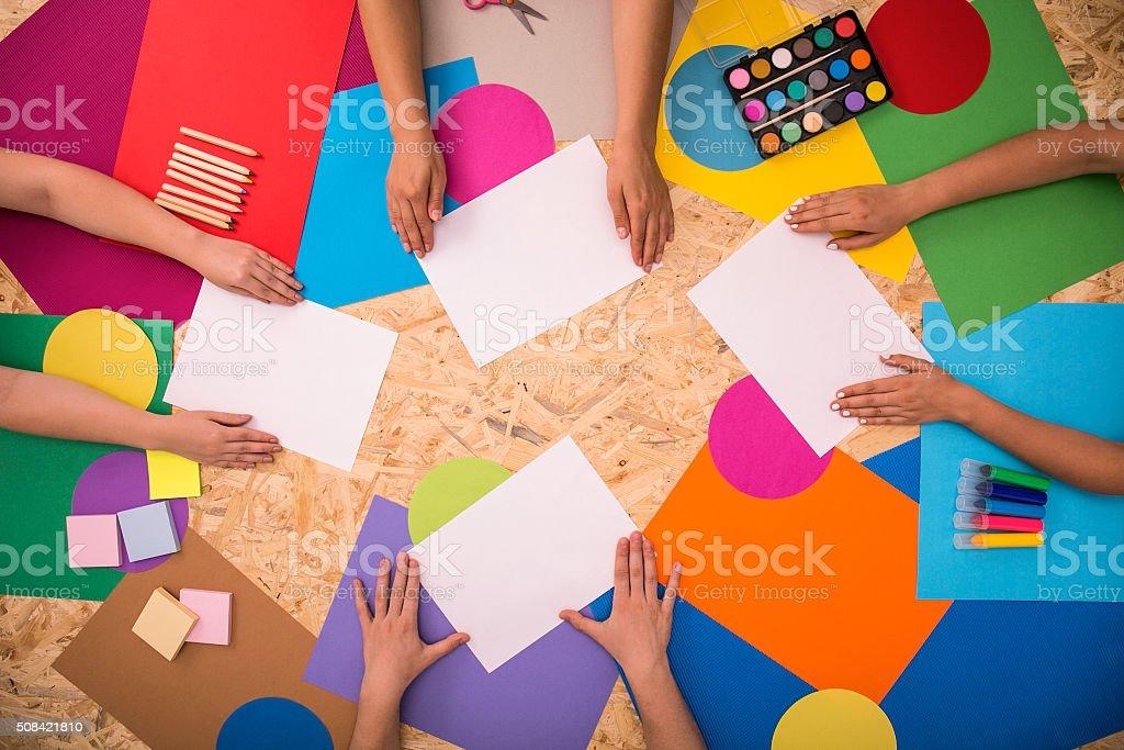Sheets of printing paper Sheets of printing paper on the floor Art Stock Photo