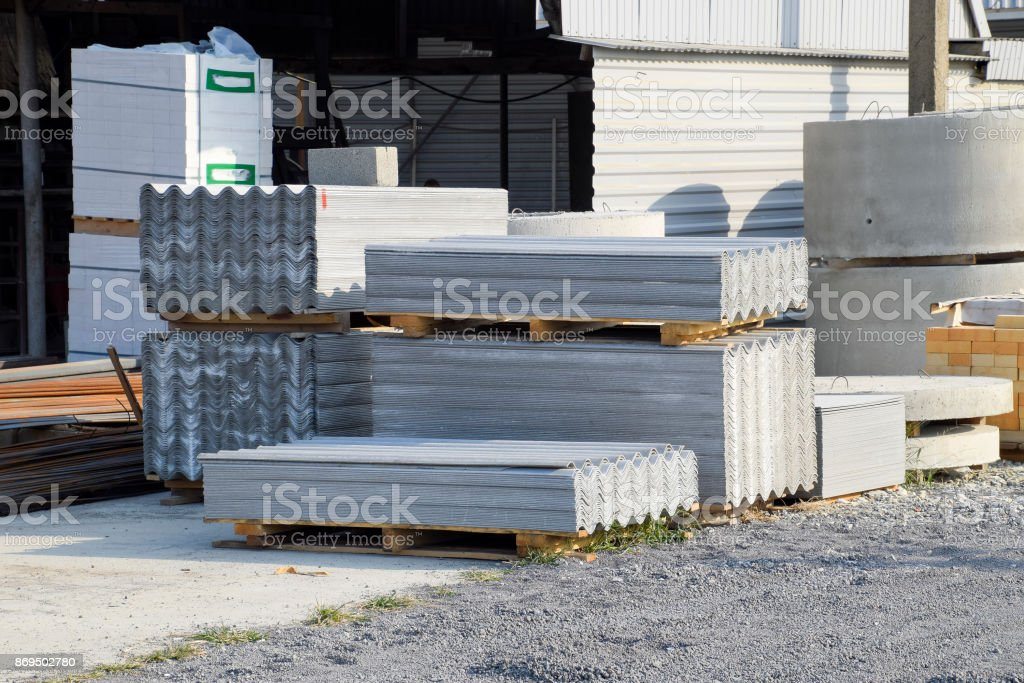 Sheets of slate on the building base. stock photo