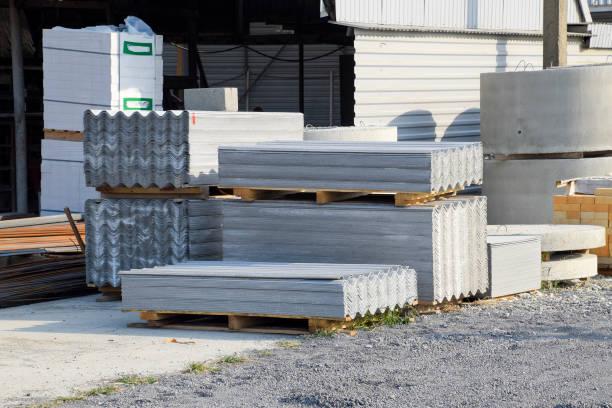 sheets of slate on the building base. - material de construção imagens e fotografias de stock