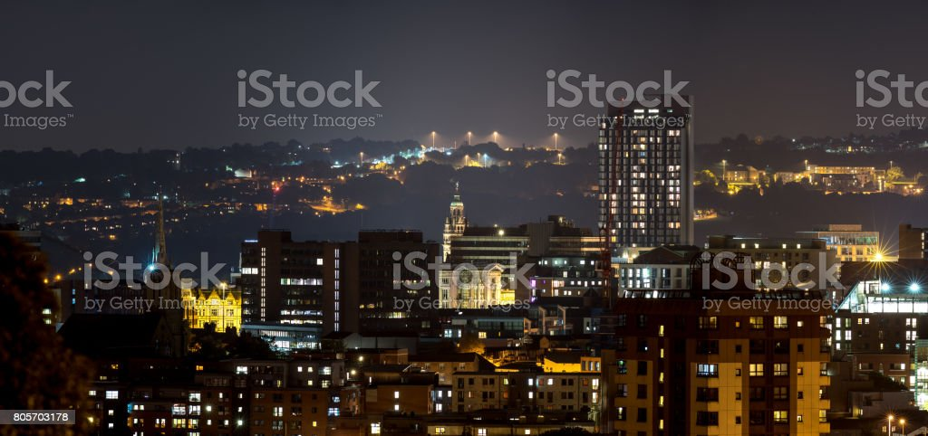 Sheffield city buildings with dramatic hill background stock photo