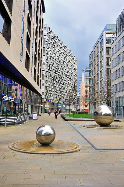 Sheffield City Centre UK with steel balls stock photo