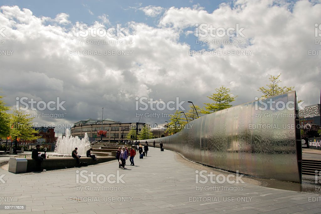 Sheffield Railway Station fountain and The Cutting Edge stock photo