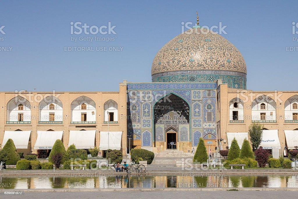 Sheikh Lotfollah Mosque seen from the Naqsh-e Jahan Square stock photo