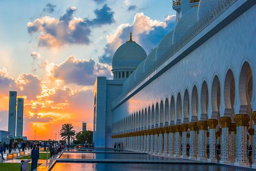 ABU DHABI, UNITED ARAB EMIRATES - FEB 12, 2019: Sheikh Zayed Grand Mosque in Abu Dhabi, United Arab Emirates.