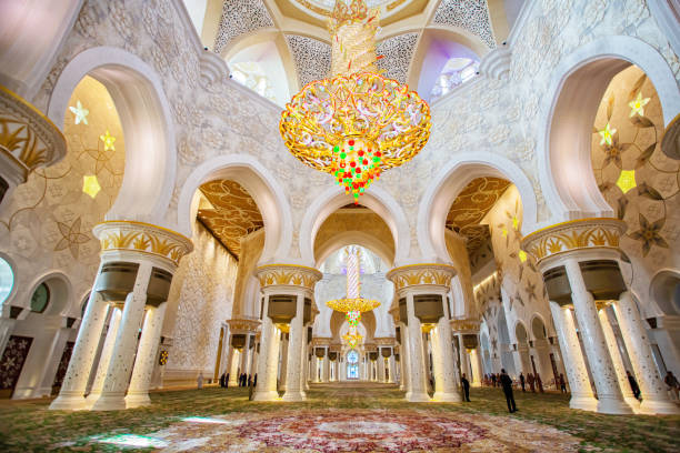Sheikh Zayed Grand Mosque interior in Abu-Dhabi in the day stock photo
