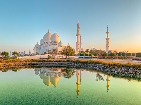 The beautiful mosque intended by late president of UAE Sheikh Zayed Bin Sultan Al Nahyan. Mosque is located at the capital city of United Arab Emirates