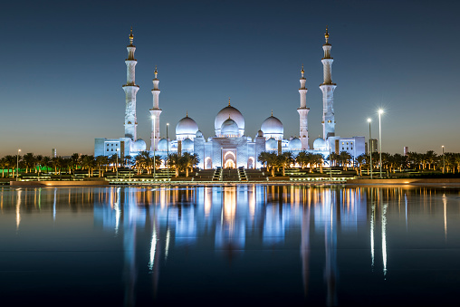 Outside view of Sheikh Zayed Grand Mosque in Abu Dhabi, UAE