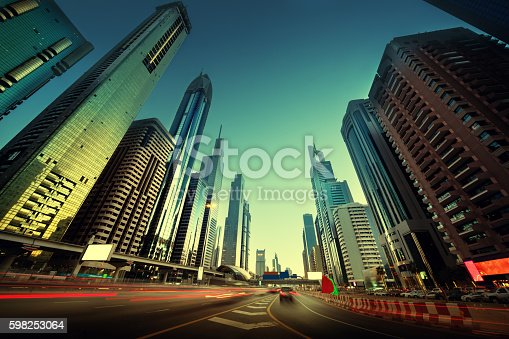 istock Sheikh Zayed Road in sunset time, Dubai, UAE 598253064
