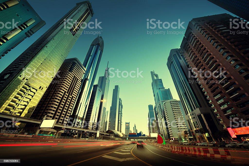 Sheikh Zayed Road in sunset time, Dubai, UAE stock photo