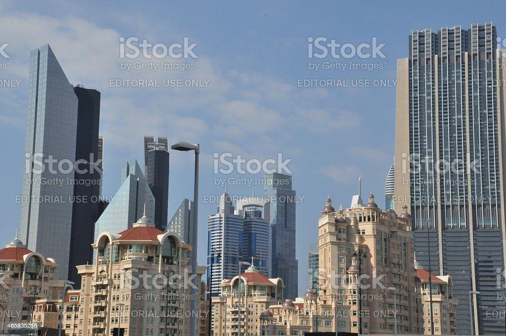 Sheikh Zayed Road skyscrapers in Dubai, UAE stock photo