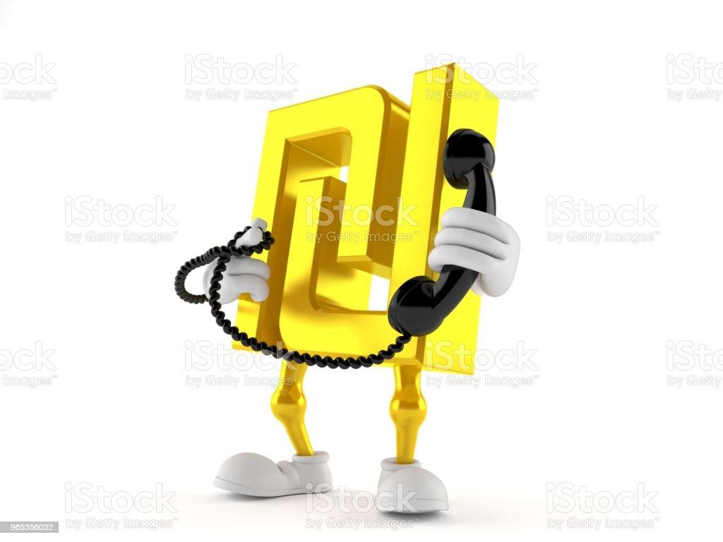 Shekel character holding a telephone handset zbiór zdjęć royalty-free