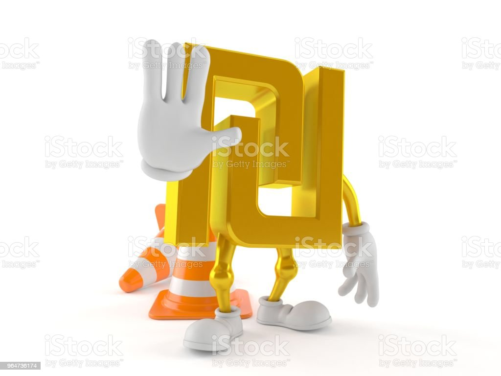 Shekel character with stop gesture royalty-free stock photo