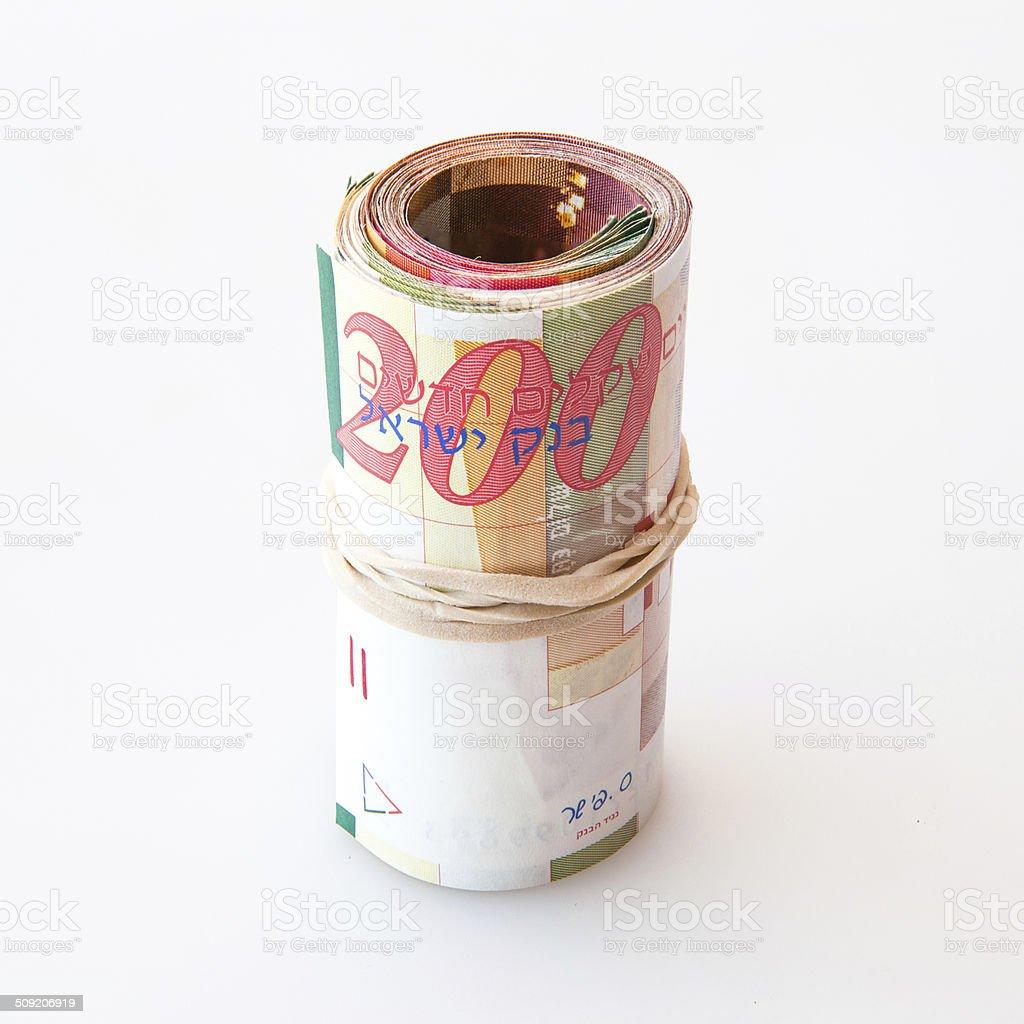Shekel notes stock photo