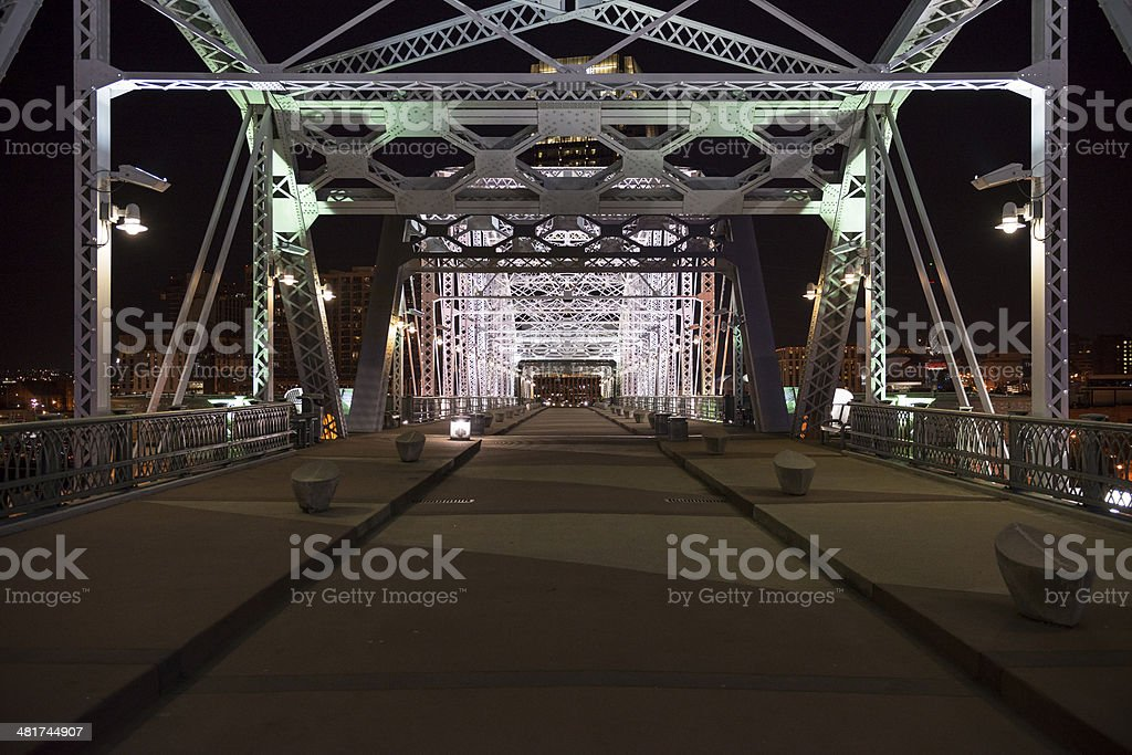 Shelby Avenue Bridge at night - Nashville Tennessee royalty-free stock photo
