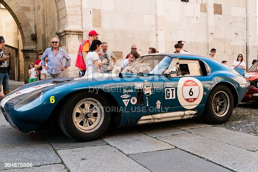 MODENA, ITALY - June, 2018. A Shelby Cobra Daytona Coupè of 1964 parades in Piazza Grande at the end of the race