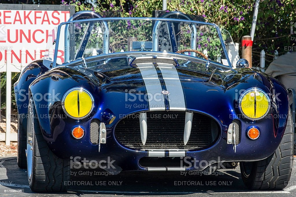 Shelby Cobra with Snake Eye headlights stock photo