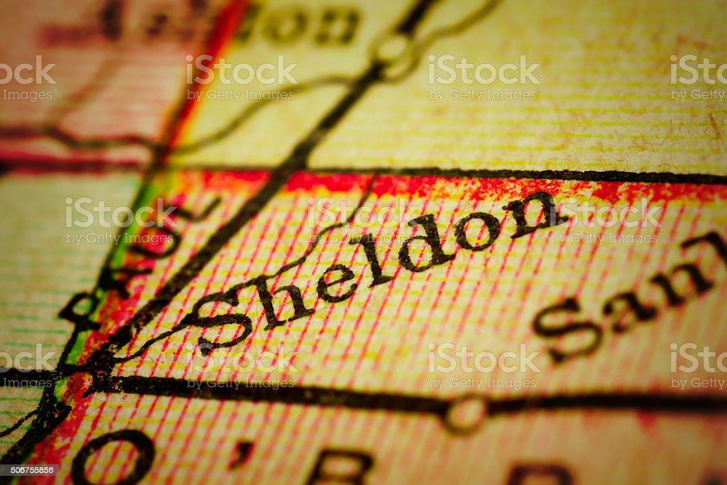 Sheldon, Iowa on an Antique map stock photo