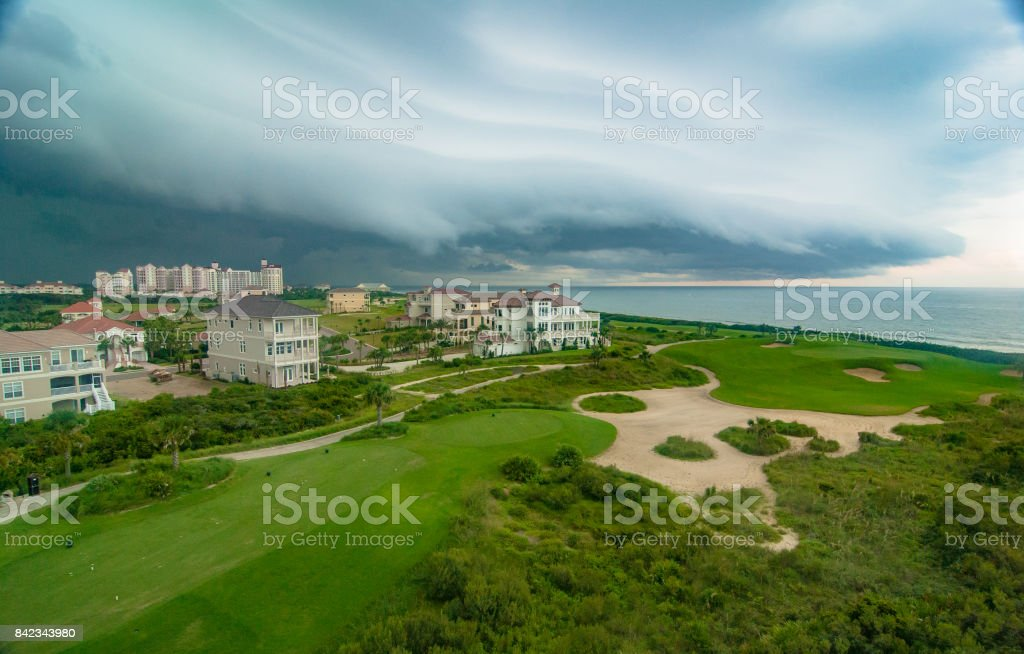 Shelf Cloud over Golf Course and Ocean at Palm Coast, Florida stock photo