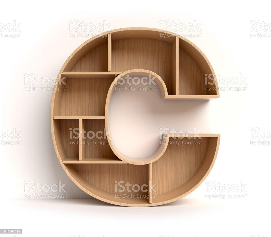 Shelf font letter C stock photo