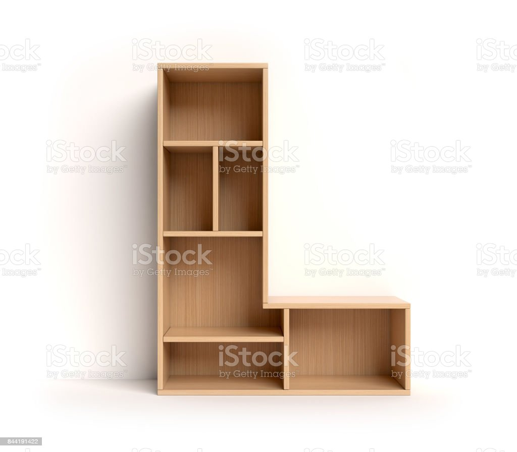 Shelf font letter L stock photo